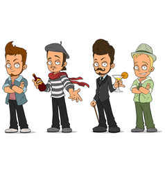 cartoon handsome guys with alcohol characters set vector image