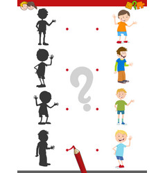 Cartoon shadow activity with kids vector