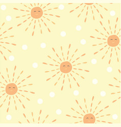 cartoon sun pattern - hand drawn doodle sun cute vector image