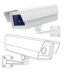 Cctv security camera 3d model and outlinen vector