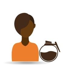 Coffee maker girl icon graphic vector