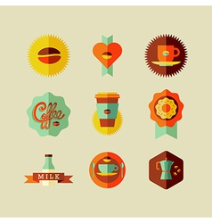 Coffee Shop flat icons vector image