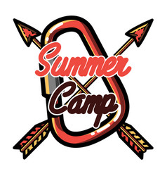 Color vintage summer camp emblem vector