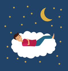 Colorful scene of night with guy sleep in cloud vector