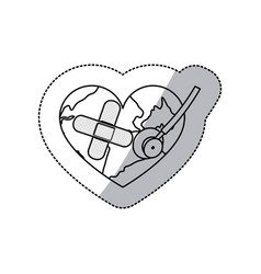 Contour earth planet heart with stethoscope and vector