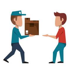 Courier delivering boxes to customer vector