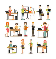 creative team people flat icon set vector image vector image