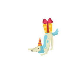 cute dog in party hat with gift box funny cartoon vector image
