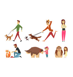 cute pets and their owners set people walking vector image