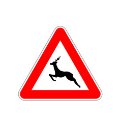 deer icon on triangle red and white road sign vector image