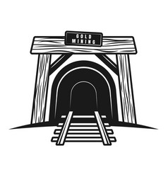 entrance in mine tunnel with railway object vector image