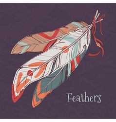 ethnic decorative feathers vector image