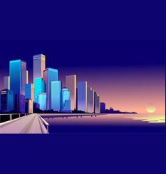 Evening cityscape near the water vector