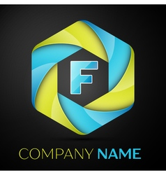 F letter colorful logo in the hexagonal on black vector