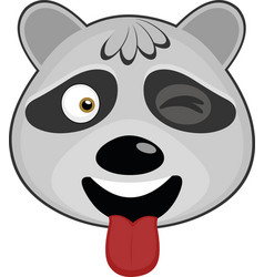 Face raccoon cartoon vector