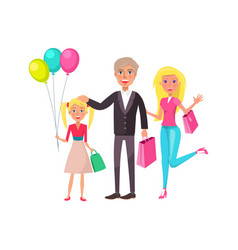 family mother father daughter gifts balloons bday vector image