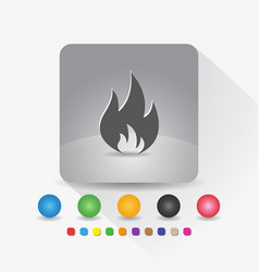 fire flame icon sign symbol app in gray square vector image