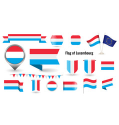 flag luxembourg big set icons and vector image