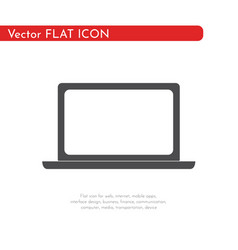 flat icon laptop for web business finance and vector image