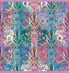 Floral colorful greek 3d seamless pattern grunge vector