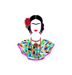 Frida kahlo portrait mexican woman vector