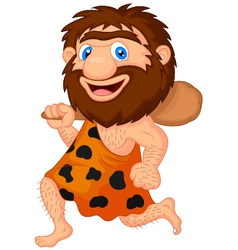 Funny caveman cartoon vector image