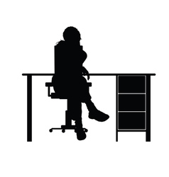 girl sitting on chair vector image vector image