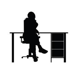 Girl sitting on chair vector