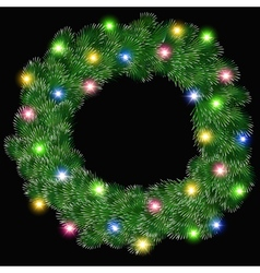 Glowing Christmas wreath vector