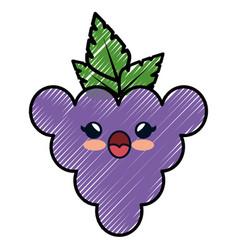 Grape cartoon smiley vector