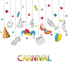greeting festive poster for happy carnival vector image