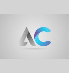 Grey blue alphabet letter ac a c logo icon design vector