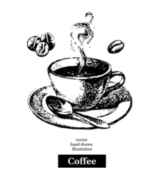 Hand drawn sketch black and white vintage coffee vector image