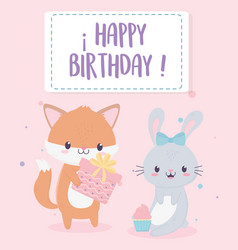 happy birthday fox and rabbit with gift and vector image