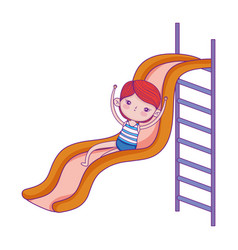 Happy childrens day little girl playing slide vector
