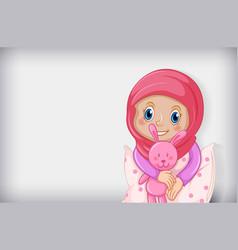 Happy muslim girl in pajamas vector