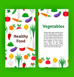 healthy food vegetables flyer vector image