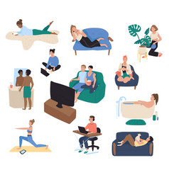home leisure people resting on couch after work vector image