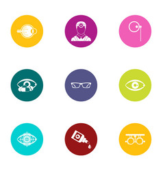 Impact on vision icons set flat style vector