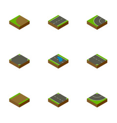 Isometric way set of downward turning driveway vector