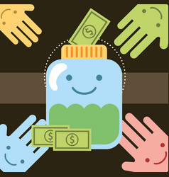 Kawaii hands and jar money banknote donate charity vector