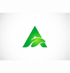 Letter a green leaf organic logo vector