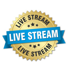 Live stream round isolated gold badge vector