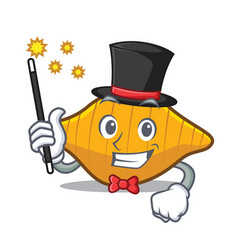Magician conchiglie pasta mascot cartoon vector