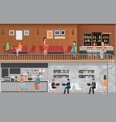 Modern cafe shop interior vector