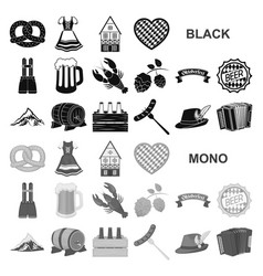 Oktober festival in munich black icons in set vector