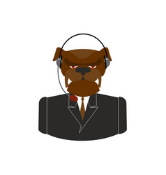 Pet call center dog with headset bulldog feedback vector