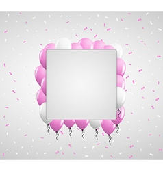Pink balloons and confetti vector