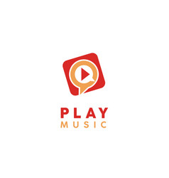 play music video multimedia player icon app logo vector image