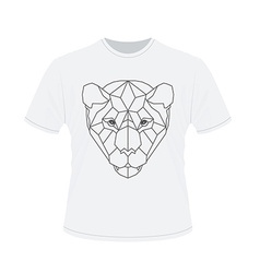 Polygonal head of tiger on white t-shirt vector
